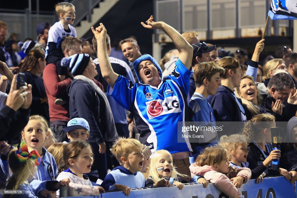 Sharks fans sing after their victory during the round 11 NRL match between the Cronulla Sharks and the Canterbury Bulldogs at Southern Cross Group Stadium on May 20, 2018 in Sydney, Australia.