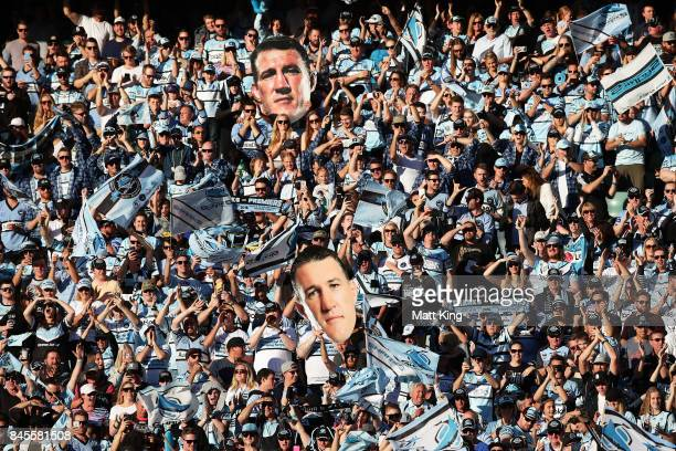 Sharks fans support during the NRL Elimination Final match between the Cronulla Sharks and the North Queensland Cowboys at Allianz Stadium on...