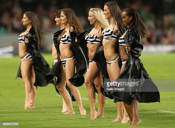 Sharks flasher girls during the Super Rugby match between Cell C Sharks and Vodacom Bulls at Growthpoint Kings Park on February 15, 2014 in Durban,...