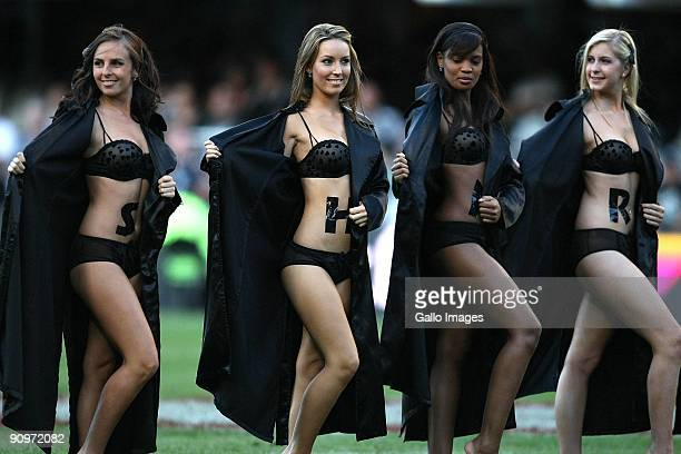 Sharks Flasher Girls pose during the Absa Currie Cup match between the Sharks and Free State Cheetahs at the Absa Stadium on September 19 2009 in...