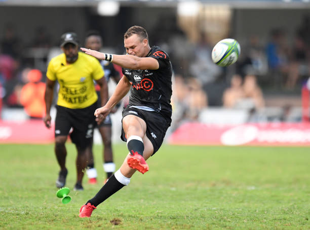 Sharks fly-half Curwin Bosch kicks a penalty during the Super Rugby match between the Sharks of Durban and the Stormers of Cape Town held at the Kings Park stadium in Durban on March 14, 2020. (Photo by Anesh Debiky / AFP) (Photo by ANESH DEBIKY/AFP via Getty Images)