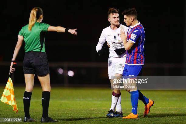 Sharks goalkeeper Matthew SYMES confronts Perry LAMBROPOULOS of the Sharks after a melee takes place during the FFA Cup round of 32 match between...