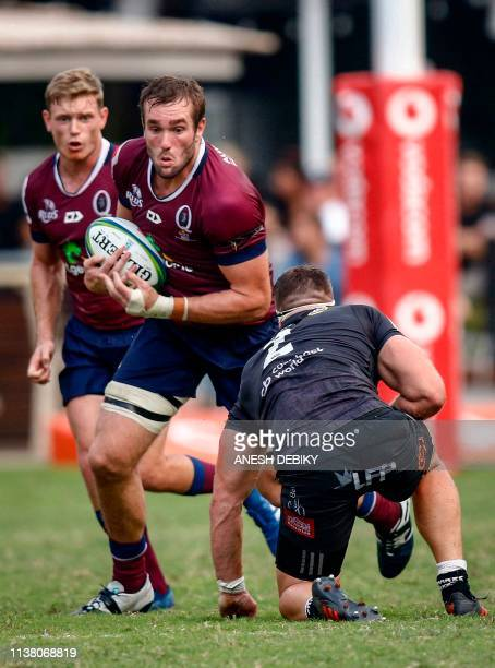 Sharks' Kerron van Vuuren fights for the ball with Reds' Izack Rodda during the Super 14 rugby union match Sharks vs Queensland Reds at the Kings...