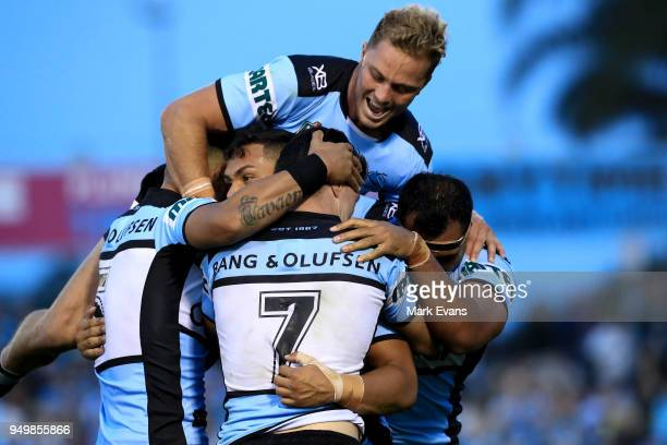 sharks players celebrate a Valentine Holmes try during the round seven NRL match between the Cronulla Sharks and the Penrith Panthers at Southern...