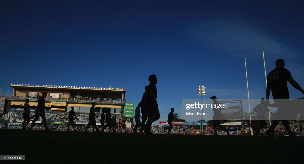Sharks players warm up before the round seven NRL match between the Cronulla Sharks and the Penrith Panthers at Southern Cross Group Stadium on April 22, 2018 in Sydney, Australia.