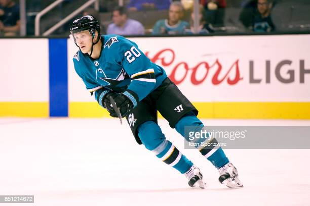 Sharks right wing Marcus Sorensen skates during the NHL game between the San Jose Sharks and the Vegas Golden Knights on September 21 at the SAP...