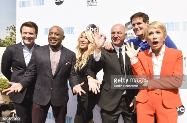 Sharks Robert Herjavec Daymond John Lori Greiner Kevin O'Leary Mark Cuban and Barbara Corcoran attend the premiere of ABC's Shark Tank Season 9 at...