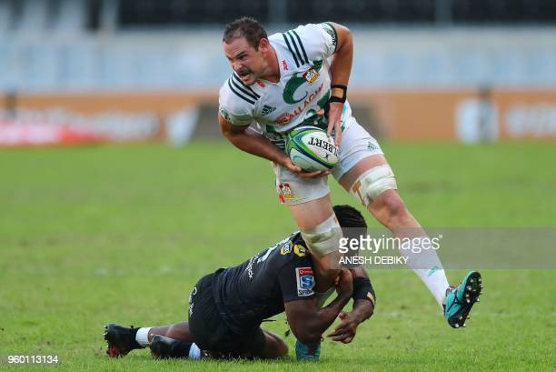 Sharks winger Sibusiso Nkosi tackles Chiefs lock Tyler Ardron during the Super XV rugby union match between South Africa's Sharks and New Zealand's...