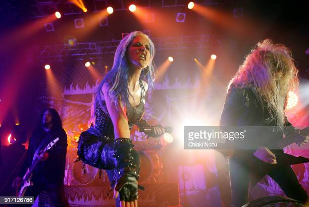 Sharlee D'Angelo Alissa WhiteGluz and Jeff Loomis of Arch Enemy perform live on stage at KOKO on February 11 2018 in London England