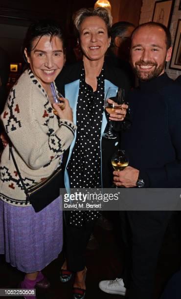 Sharleen Spiteri Nikki Tibbles and Will Thompson attend the 10th anniversary of Primrose Hill restaurant Odette's on October 15 2018 in London England