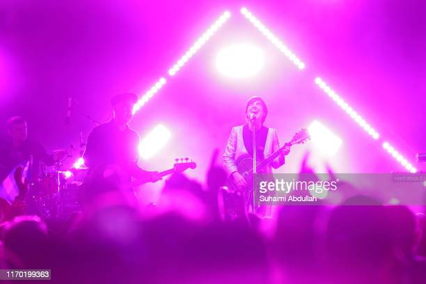 Sharleen Spiteri of the band Texas performs on stage during day three of Formula 1 Singapore Grand Prix at Marina Bay Street Circuit on September 22,...