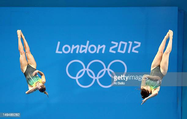 Sharleen Stratton and Anabelle Smith of Australia compete in the Women's Synchronised 3m Springboard final on Day 2 of the London 2012 Olympic Games...