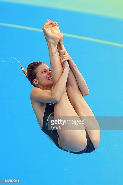 Sharleen Stratton of Australia competes in the Women's 1m Springboard preliminary round during Day Two of the 14th FINA World Championships at the...