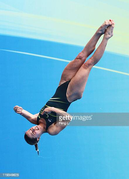 Sharleen Stratton of Australia competes in the Women's 1m Springboard Final during Day Four of the 14th FINA World Championships at the Oriental...