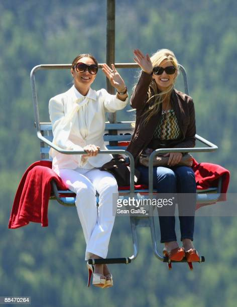 Sharlely Becker new wife of former tennis star Boris Becker and friend Judith Kamps ride a ski lift to the Beckers' wedding brunch reception at the...