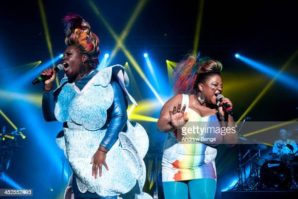 Sharlene Hector and Vula Malinga of Basement Jaxx perform on stage at Manchester Apollo on November 29 2013 in Manchester United Kingdom