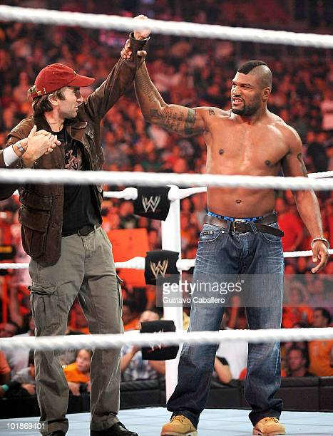 Sharlto Copley and Quinton 'Rampage' Jackson attend WWE Monday Night Raw at American Airlines Arena on June 7 2010 in Miami Florida