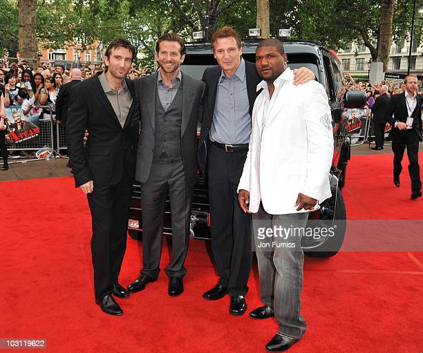 Sharlto Copley Bradley Cooper Liam Neeson and Quinton Jackson attend the UK Film Premiere of 'The ATeam' at Empire Leicester Square on July 27 2010...