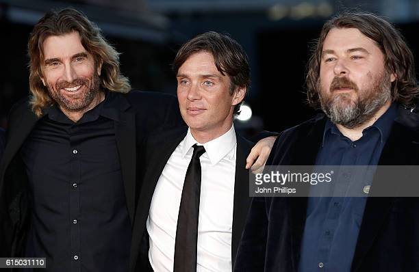 Sharlto Copley Cillian Murphy and Ben Wheatley attend the 'Free Fire' Closing Night Gala screening during the 60th BFI London Film Festival at Odeon...
