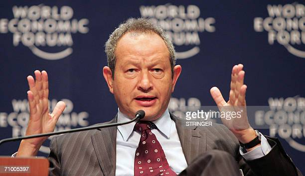 Egyptian entrepreneur Naguib O Sawiris Chairman and Chief Executive Officer of Orascom Telecom Holding participates in a plenary session about the...