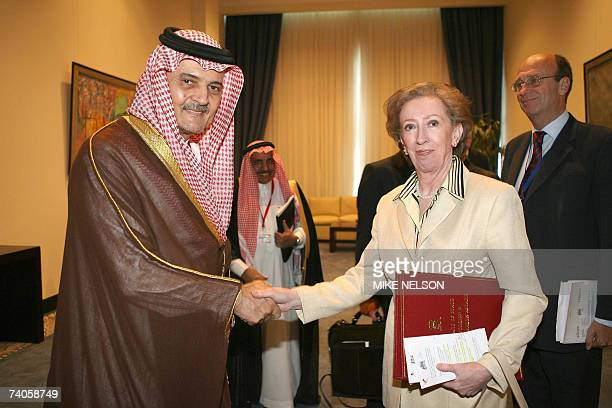 Saudi Foreign Minister Prince Saud alFaisal shakes hands with British Foreign Secretary Margaret Beckett during a bilateral meeting on the first day...
