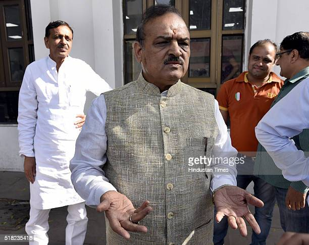 Sharma during the Delhi Assembly Budget Session at Delhi Vidhan Sabha on March 30 2016 in New Delhi India The Delhi Assembly today passed Rs 46600...
