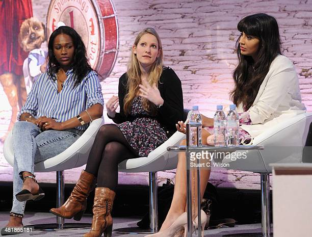 Sharmadean Reid Founder Wah Nails Laura Bates founder Everyday Sexism and TV presenter Jameela Jamil on stage at the Cosmopolitan Engaging Millenials...