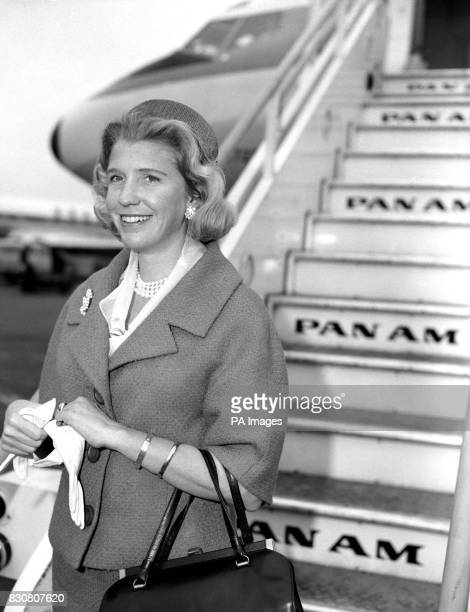Sharman Douglas daughter of Mr Lewis Douglas former American Ambassador to London pictured at London Airport before she left for New York She had...