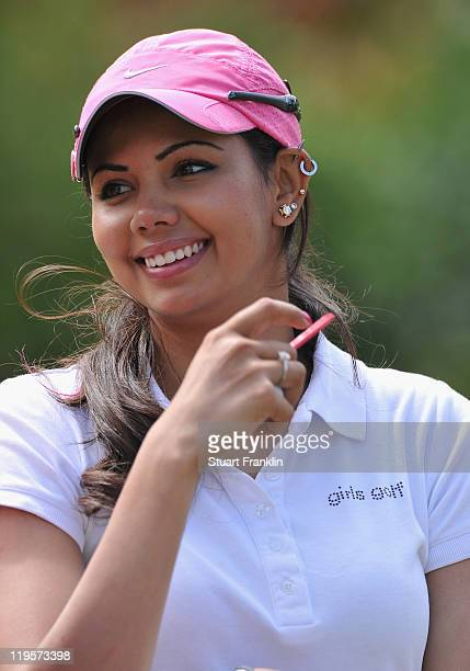 Sharmila Nicollet of India looks on during the second round of the Evian Masters at the Evian Masters golf club on July 22 2011 in EvianlesBains...