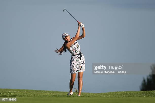 Sharmila Nicollet of India plays her approach shot on the 5th hole during the First round of the Evian Masters Golf Tournament at the Evian Masters...