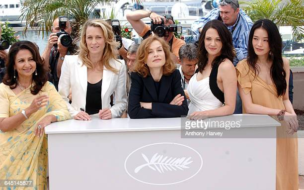 Sharmila Tagore Robin Wright Penn Isabelle Huppert Asia Argento and Shu Qi attend the 'Cannes Jury' Photocall at the Palais Des Festivals during the...