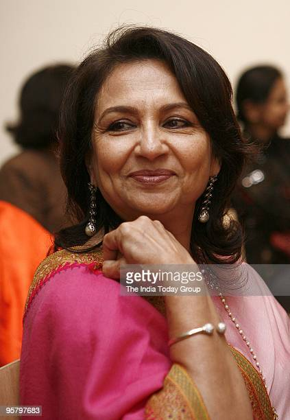 Sharmila Tagore smiles during the Jayashri Barman exhibition opening at Lalit Kala Academy in New Delhi on Thursday January 14 2010