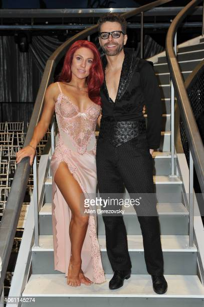 Sharna Burgess and Bobby Bones pose at 'Dancing with the Stars' Season 27 at CBS Televison City on October 29 2018 in Los Angeles California