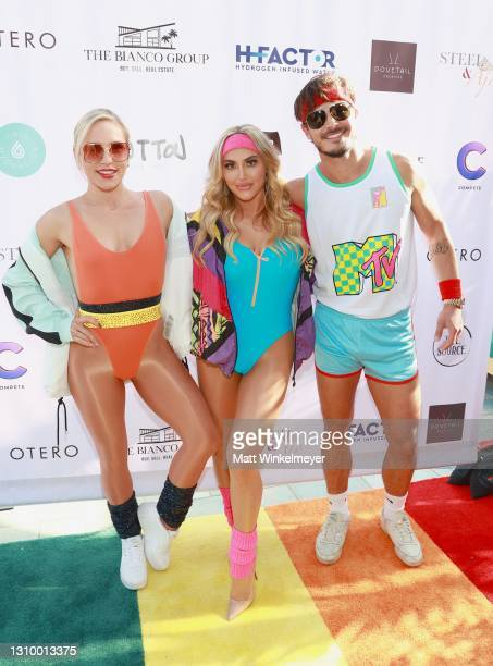 Sharna Burgess, Cassie Scerbo, and Gleb Savchenko attend the 80's-themed birthday fundraiser benefiting Boo2Bullying hosted by Cassie Scerbo at Rafi...