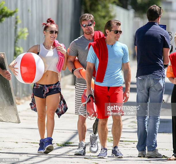 Sharna Burgess Noah Galloway and Robert Herjavec are seen in Hollywood on April 18 2015 in Los Angeles California