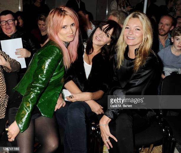 Sharna Liguz Annabelle Neilson and Kate Moss sit in the front row at the James Small Menswear Spring/Summer 2012 runway show during London Fashion...