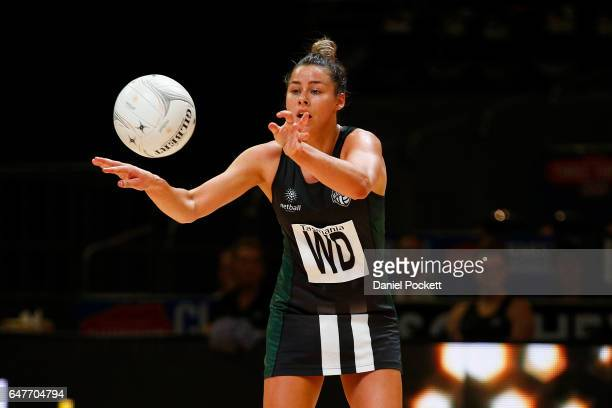 Sharni Lambden of the Magpies makes a pass during the round three Australian Netball League match between the Magpies and the Giants at Hisense Arena...