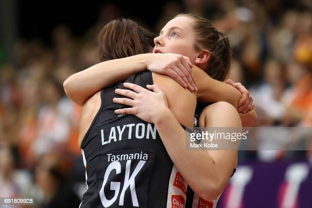 Sharni Layton and Alice TeagueNeeld of the Magpies embrace as they look dejected after defeat during the Super Netball Major Semi Final match between...