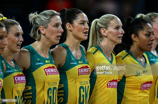 Sharni Layton of Australia sings the National Anthem during the International Test Match between Australia and South Africa on August 27 2016 at...