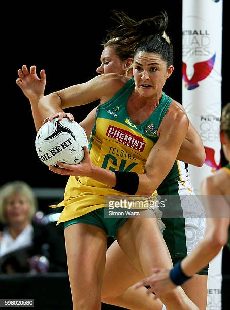 Sharni Layton of Australia steals a pass during the International Test Match between Australia and South Africa on August 27 2016 at Vector Arena...