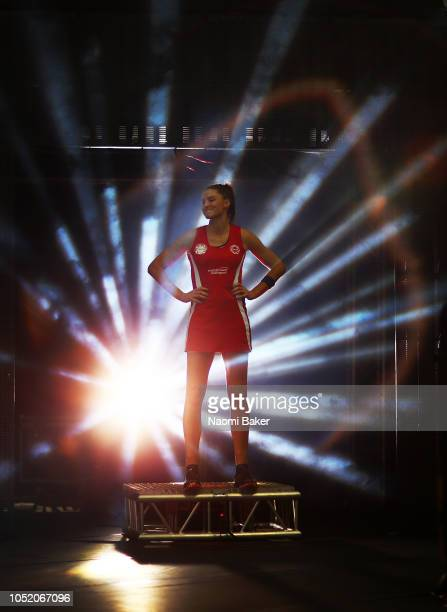 Sharni Layton of Surrey Storm in announced onto the court while wearing a England Red Roses uniform ahead of their first round match against...