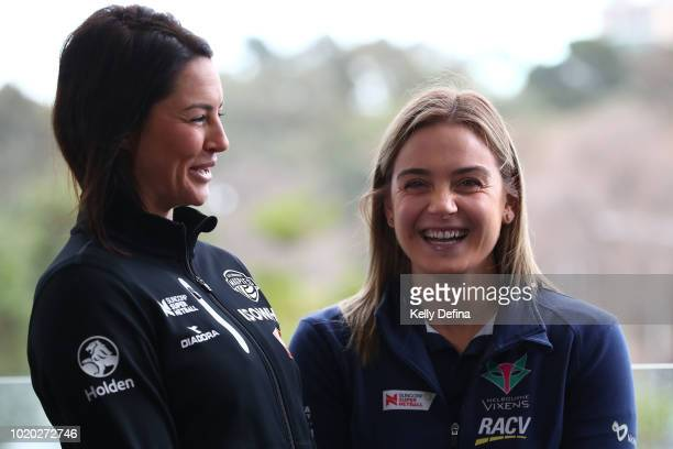 Sharni Layton of the Collingwood Magpies and Liz Watson of the Melbourne Vixens are seen during the Melbourne Arena naming announcement at Melbourne...