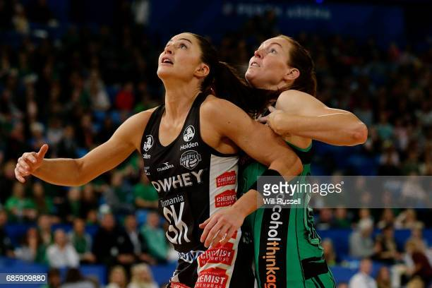 Sharni Layton of the Magpies and Kate Beveridge of the Fever in action during the round 13 Super Netball match between the Fever and the Magpies at...