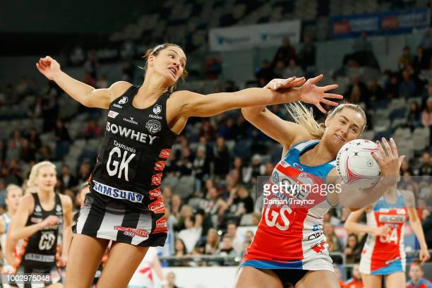 Sharni Layton of the Magpies and Sophie Garbin of the Swifts compete during the round 12 Super Netball match between the Magpies and the Swifts at...