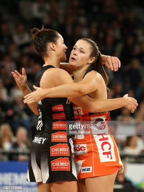 Sharni Layton of the Magpies and Susan Pettitt of the Giants embrace after Layton played her final home match during the round 13 Super Rugby match...