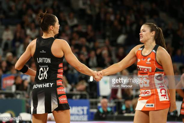 Sharni Layton of the Magpies and Susan Pettitt of the Giants shake hands after Layton played her final home match during the round 13 Super Rugby...
