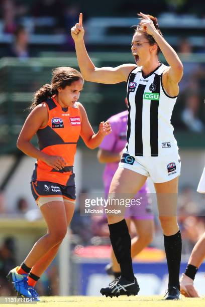 Sharni Layton of the Magpies celebrates a goal by Sarah Dargan of the Magpies during the AFLW Rd 4 match between Collingwood and GWS at Morwekk...