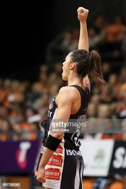 Sharni Layton of the Magpies celebrates a goal during the Super Netball Major Semi Final match between the Giants and the Magpies at Sydney Olympic...