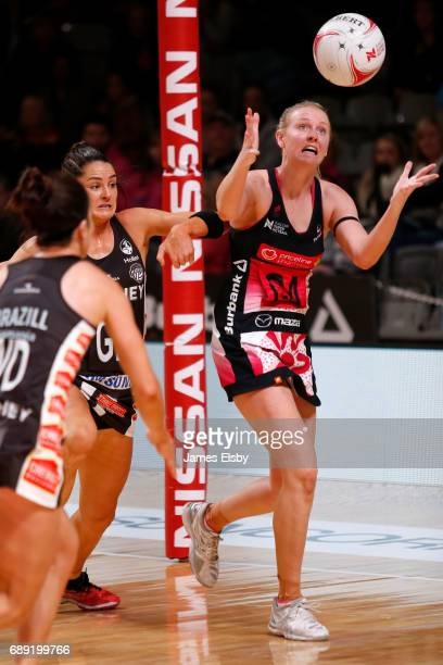 Sharni Layton of the Magpies clashes with Sasha Glasgow of the Thunderbirds during the round 14 Super Netball match between the Thunderbirds and...