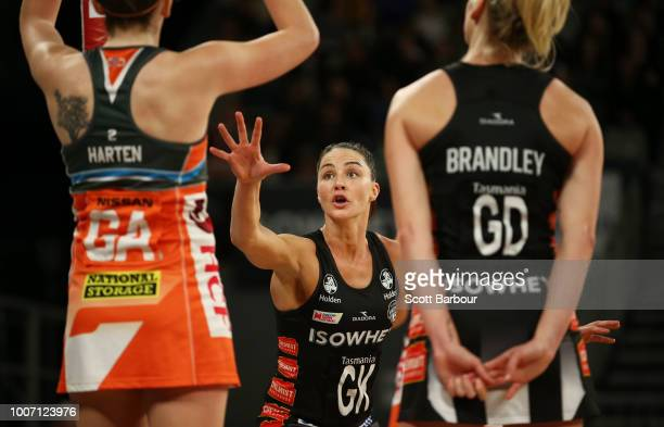 Sharni Layton of the Magpies defends during the round 13 Super Rugby match between the Magpies and the Giants at Hisense Arena on July 29 2018 in...